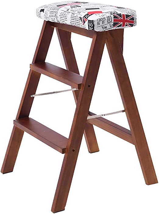 QQXX Taburete con peldaño Escalera de Madera Taburete Multifunción Plegable Antideslizante Biblioteca para el hogar 3 peldaños 150 kg de Capacidad Almohadilla Lavable (Pata marrón): Amazon.es: Hogar