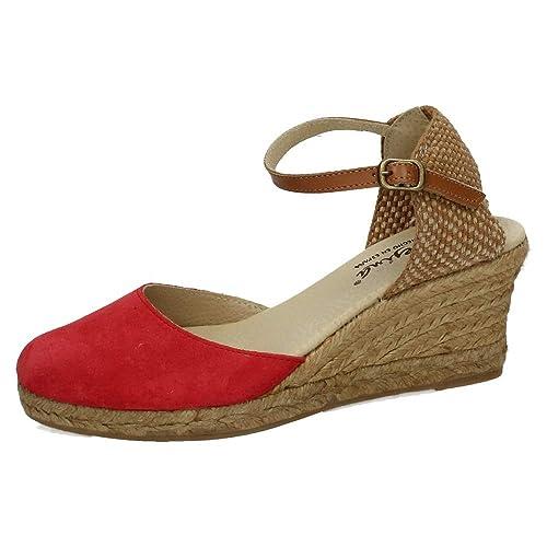 MADE IN SPAIN 625 CUÑA DE Esparto Rojo Mujer Alpargatas: Amazon.es: Zapatos y complementos
