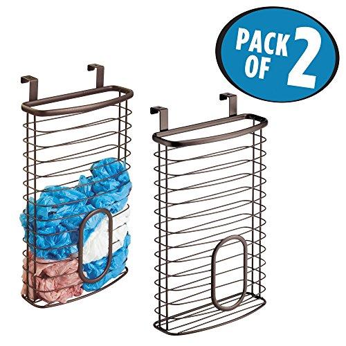Plastic Silverware Bag (mDesign Over-the-Cabinet Kitchen Storage Plastic Bag Holder – Pack of 2, Bronze)