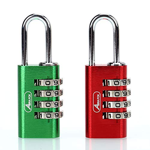 ABRAFOX Padlock, Set Your Own 4 Digit Combination Luggage Lock (21mm Purple+Red)