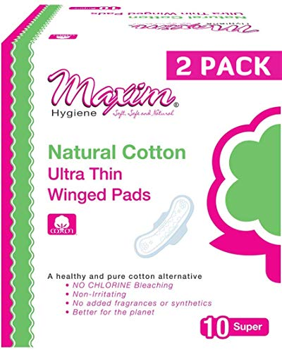 Maxim Natural Cotton Maxi Pad with Wings, 20ct, Super Maxi Pads, No Chlorine/Dioxin/SAP, Biodegradable Sanitary Pad for Women, Breathable, Hypoallergenic, Cotton Winged Pads, 2 Packs of 10
