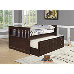 Donco Kids 303-FCP Captains Trundle Bed, Full, Dark Cappuccino