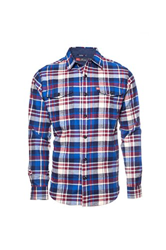 American Outdoorsman The Montana Everyday Cotton Flannel Shirt (XX Large, Blue Red)