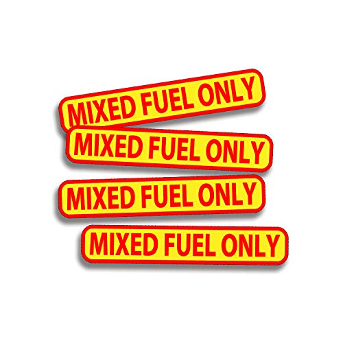 MIXED FUEL ONLY Sticker Set of 4 Die Cut Vinyl Decal label for Gas Tank Door Container Jug Lawnmower - Sticker Eater
