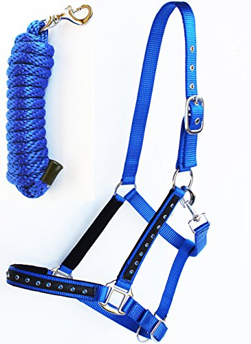 - ProRider Nylon Horse Halter Hardware Padded Lead Rope Tack Blue Rodeo Bling 606162RB