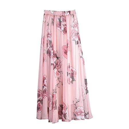 FENICAL Falda de Gasa con Estilo de Playa para Mujer Faldas ...