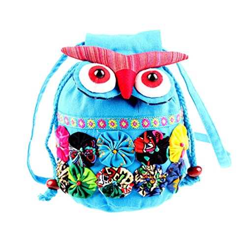 De Bag Mignon De Binhee Mode Bleu Owl Ciel Sacs Retro Femmes Ethnique Cartoon Toile Style Messenger UxIxwqtO5