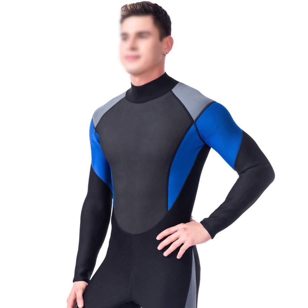 noir bleu petit Dhrfyktu Combinaison de plongée 3mm Combinaison de plongée Chaude et élastique (Couleur   noir bleu, Taille   XXL)