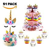 Cute Unicorn Cupcake/Cake Decoration Set - Include Wrappers, Toppers, Cupcake Stand, and Dual function Unicorn Headband/Cake Topper with Eyelashes, Perfect for Birthday Parties/Baby Showers/Weddings