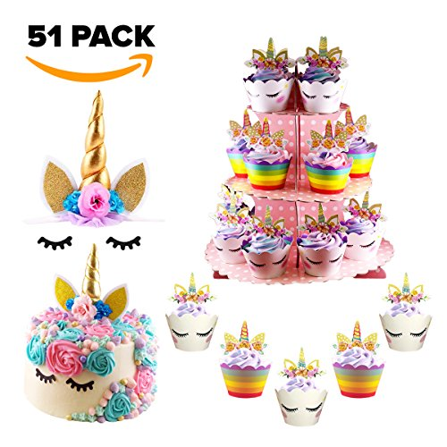 Cute Unicorn Cupcake/Cake Decoration Set - Include Wrappers, Toppers, Cupcake Stand, and Dual function Unicorn Headband/Cake Topper with Eyelashes, Perfect for Birthday Parties/Baby Showers/Weddings by TopTopcaShop