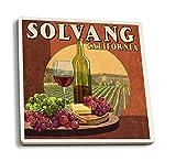 Solvang, California - Wine Vintage Sign (Set of 4 Ceramic Coasters - Cork-backed, Absorbent)