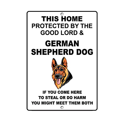 Fastasticdeals German Shepherd Dog Dog Home Protected by Good Lord and Novelty Metal Sign (German Shepherd Sign)