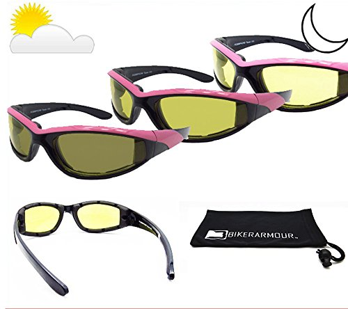 Price comparison product image Pink Frame Light Adjusting Motorcycle Glasses Foam Padded for Women. Yellow Photochromic Polycarbonate Safety Lenses. Microfiber Case. Angel / TR / YE