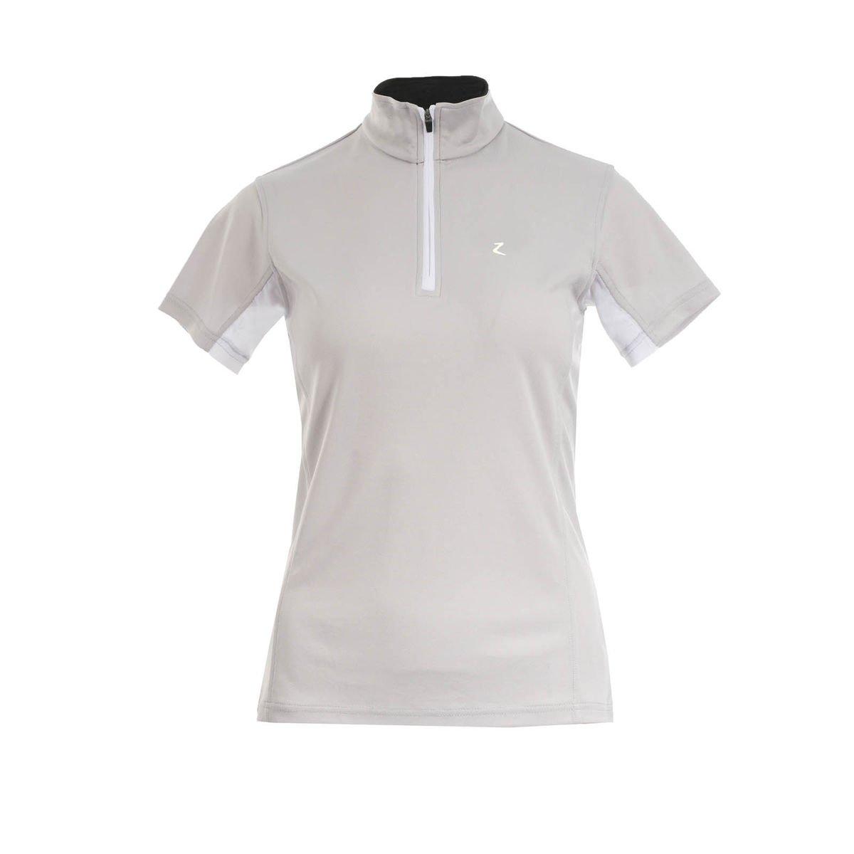 Horze Trista通気性グレーWomen 's Functional Polo Zip Up short-sleeved UV保護Showシャツ( US 8 / EU 38 )   B072FRZ7SR