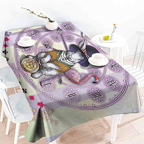DILITECK Polyester Tablecloth Animal Alice in Wonderland Rabbit and Cat Fiction Story Novel Child Display Story Table Decoration W50 xL80 Lilac Pale Yellow]()