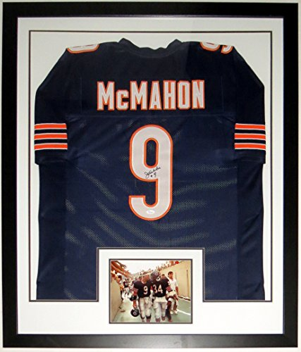 Jim McMahon Signed Bears Jersey - Authenticated by JSA COA - Custom Framed & 8x10 Photo with Walter Payton - (Walter Payton Autographed Jersey)