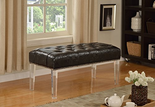 Furniture World Sophie Crocodile Faux Leather Accent Bench, Black - Leg Faux Leather Bench