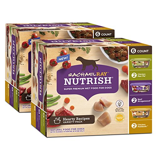 - Rachael Ray Nutrish Hearty Recipes Variety Pack Wet Dog Food, 12 Tubs