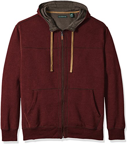 Tall Zipper (GH Bass Men's Big and Tall Sueded Fleece Long Sleeve Hooded Jacket, Rhubarb, 2X-Large)