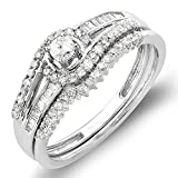 0.50 Carat (ctw) 10k White Gold Round & Baguette Diamond Ladies Swirl Engagement Matching Band Halo Style Bridal Ring Set 1/2 CT (Size 7)