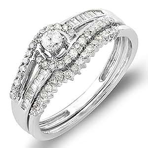 0.50 Carat (ctw) 10K White Gold Diamond Swirl Engagement Band Halo Bridal Ring Set 1/2 CT (Size 4)