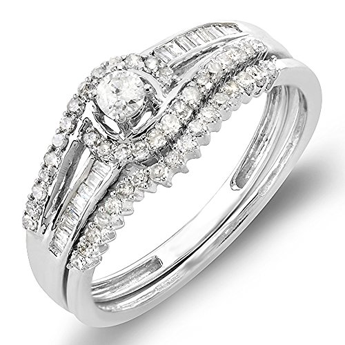 Dazzlingrock Collection 0.50 Carat (ctw) 10k Round & Baguette Diamond Ladies Swirl Engagement Matching Band Halo Style Bridal Ring Set 1/2 CT, White Gold, Size 6