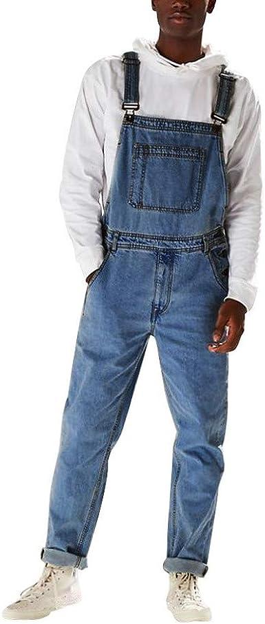 Peto Vaquero Hombre Largo Para Trabajos Denim Pantalon Casual Con Bolsillos Mono Jeans Ancha Vaquero Slim Fit Overol De Mezclilla Pantalones Largos Hombres Amazon Es Ropa Y Accesorios