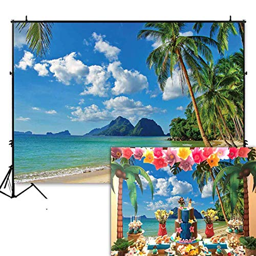 Funnytree 7x5ft Summer Tropical Beach Backdrop Seaside Island Palm Trees Photography Background for Picture Blue Sea Sky Sunshine Luau Themed Party Decorations Photo Booth Studio Props -