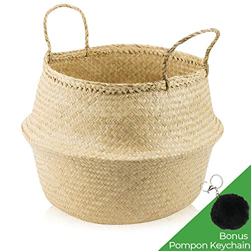 ACELEY Woven Seagrass Belly Basket for Storage - Modern Home Decor Plant Pot Cover, Toy Storage, Wicker Baskets, Plant Basket, Collapsible Laundry Basket, Foldable, Hand Made Seagrass Basket ()