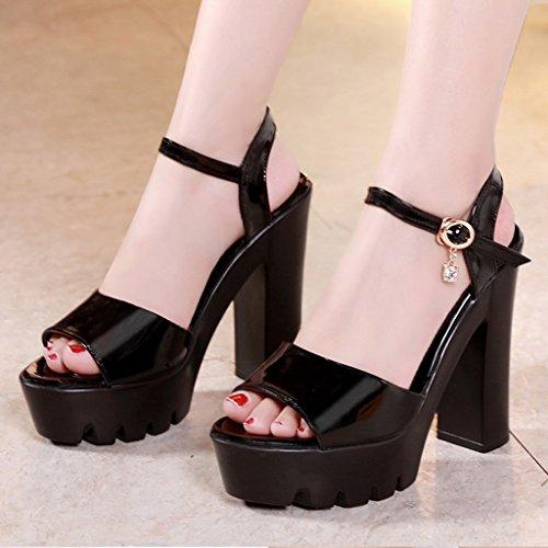 Single shoes - female épais avec des sandales coréenne sauvages chaussures à talons hauts (Couleur : Noir, taille : 35-Shoes long225mm) Noir