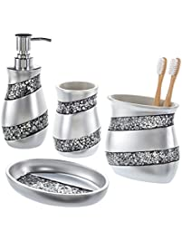 Elegant Creative Scents Bathroom Accessories Set, 4 Piece Silver Mosaic Glass  Luxury Bathroom Gift Set