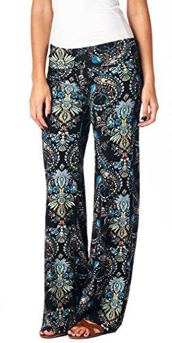 Popana Womens Comfy Chic Wide Leg Boho Print Palazzo Pants Plus Size Made in USA X-Large ST01 Boho Paisley