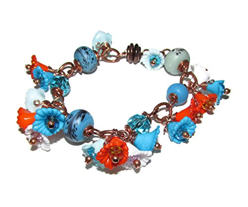 BLUE, WHITE AND ORANGE CHARM BRACELET Solid Copper with flowers size 6.75 Inch (Charms Lampwork White)