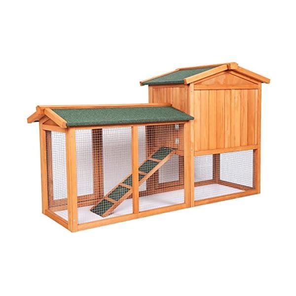 Sunnyglade Chicken Coop Large Wooden Outdoor Bunny Rabbit Hutch Hen Cage with Ventilation Door, Removable Tray & Ramp Garden Backyard Pet House Chicken Nesting Box 3
