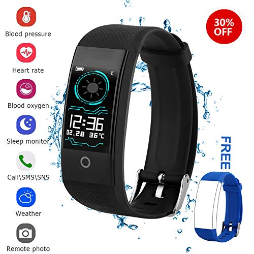 Fitness Tracker for Men Women Kids, Waterproof Color Screen Activity Tracker with Heart Rate Blood Pressure Blood Oxygen Sleep Monitor, Pedometer Watch with Step Calories Counter ()