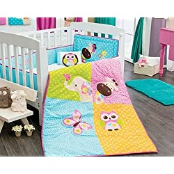 Giraffe, Owl Elephant & Butterfly Girl's Baby Crib Bedding Nursery Set 6 piece Limited Edition