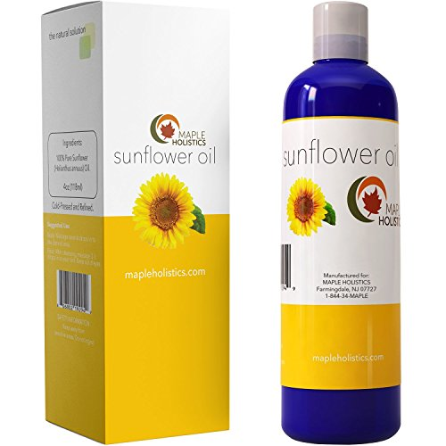 Price comparison product image Pure Sunflower Oil Moisturizer for Face Body and Hair Cold Pressed Essential Oil Carrier for Aromatherapy Massage Anti Wrinkle Dry Skin Facial Cleanser Serum and Daily Conditioner for Hair Growth