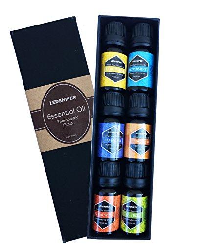 Ledsniper Aromatherapy Essential Oils Gift Set, 6 Bottles/ 10ml each, Pure& Therapeutic Grade (Lavender, Tea Tree, Eucalyptus, Lemongrass, Bergamot, Peppermint)