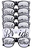 Bridal Bachelorette Wedding Party Sunglasses, Bride and Bridesmaid Party Favors, Selfie Kit with 6 Pairs of Themed Novelty Glasses for Memorable Photo Booth Fun or a Perfect Night Out (Black & White)