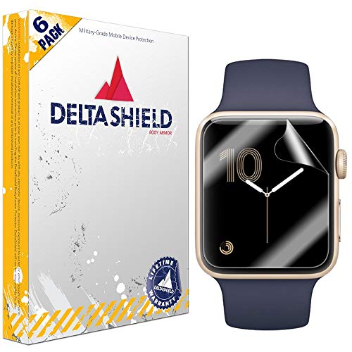 DeltaShield Screen Protector for Apple Watch (38mm Series 3, 2, 1 Compatible)(6-Pack) BodyArmor Anti-Bubble Military-Grade Clear TPU Film