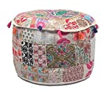 GANESHAM Indian Home Decor Hippie Patchwork Bean Bag Boho Bohemian Hand Embroidered Ethnic Handmade Pouf Ottoman Vintage Cotton Floor Pillow & Cushion 22x14 inch (22x14 inch)
