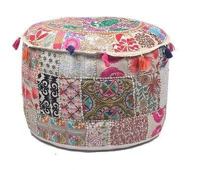 GANESHAM Indian Home Decor Hippie Patchwork Bean Bag Chair Cover Boho Bohemian Hand Embroidered Ethnic Handmade Pouf Ottoman Vintage Cotton Floor Pillow & Cushion 13
