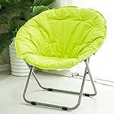Folding chair / Round Leisure Folding Chair / Moon Chair / Home Folding Chair / Recliner /Home lazy sofa /Sun loungers /Balcony lounge chair / ( Color : Green )