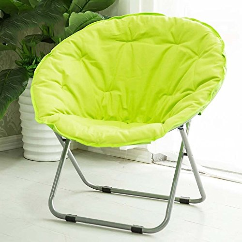 Folding chair / Round Leisure Folding Chair / Moon Chair / Home Folding Chair / Recliner /Home lazy sofa /Sun loungers /Balcony lounge chair / ( Color : Green ) by Folding Chair