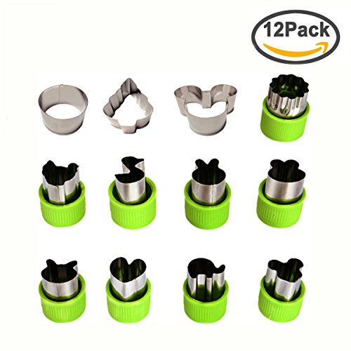 Kspowwin 12 Pieces Vegetable Cutter Shapes Set Cookie Cutters Fruit Mold Stamps Decorative Food Cutter Christmas Gift for Kids (12 Pcs) (Cut Mini Outs Hearts)