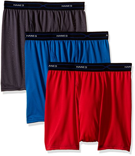 Hanes Men's 3-Pack X-Temp Performance Cool Short Leg Boxer Brief, Assorted, Large