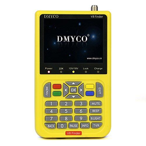 Satellite Finder V8 Finder, Free Sat Digital FTA Signal Meter DVB-S2 Receiver MPEG-4 HD 1080P Free to Air Dish Adjusting Tool 3.5 Inch LCD Screen Display