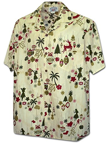 - Hawaiian Christmas Ornaments Men's Aloha Shirt 3920-EGGNOG-XL