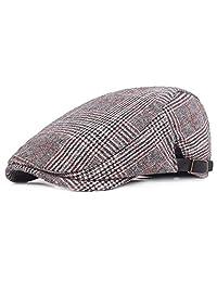 RICHTOER Newsboy Cap Beret Men Women Flat Caps Summer Cotton Plaid Hat Outdoors