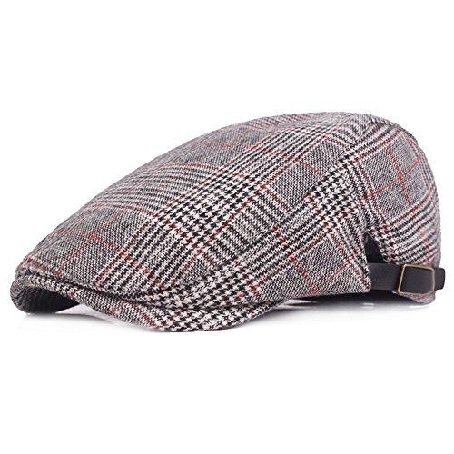 - RICHTOER Newsboy Cap Beret Men Women Flat Caps Summer Cotton Plaid Hat Outdoors(Color 1)